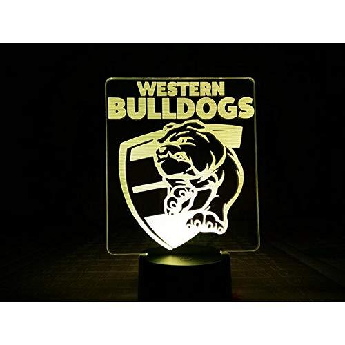 Western Bulldogs LED Nachtlicht USB 7 Farbwechsel Kinder Baby Australian Rules football AFL Team Tischlampe
