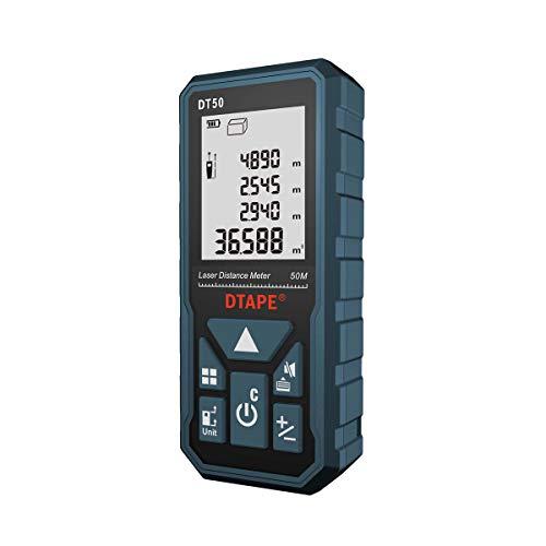 Misuratore Laser,DTAPE DT50 Telemetro Laser Distanziometro Laser 50M/165ft,Manometro Portatile Strumento di Misurazione Della Portata Digitale,Display LCD a 4 Righe Retroilluminato più Grande IP54
