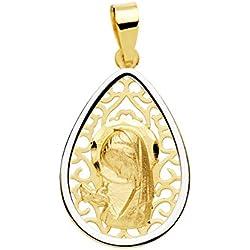 Medalla niña comunión virgen niña 18 mm calada oro bicolor 18 ktes matizada