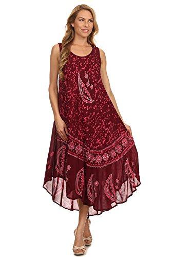 Sakkas Robe Caftan Débardeur Batik Lune et Étoiles / Robe de plage Bordeaux / Rose