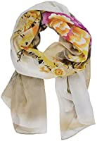 Kobwa(TM) Fashion Picapica Peony Flower Print Soft Chiffon Shawl Scarf With Keyring