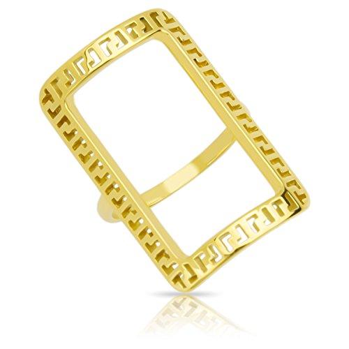Mäander Goldring Breiter Silber Sterlingsilber 925 22 Karat Damen- Ring - Gelbgold Gr 54