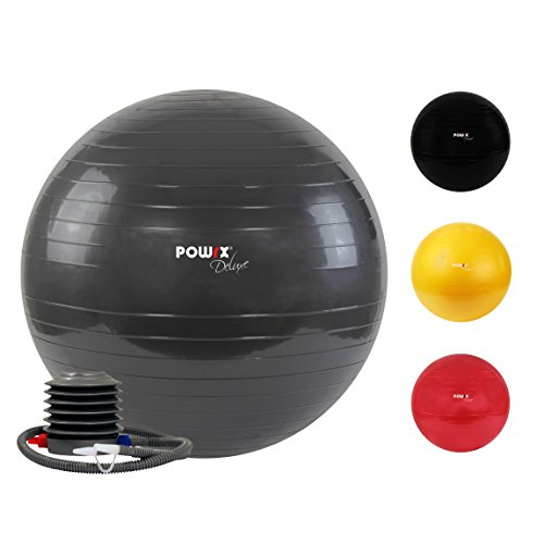 Ballon de Gymnastique - Balle de Gym Deluxe disponible en rouge, noir et gris anthracite et différentes tailles : 45 cm - 55 cm - 65 cm - 75 cm - 85 cm - 95 cm - 105 cm, pompe comprise