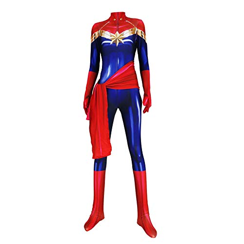 YIWANGO Captain Marvel Cosplay Kostüm Männer Frauen Kinder Maskerade Superheld Set 3D Digitaldruck Siamesische Strumpfhosen Halloween Party Filmrequisiten - Lady Marvel Kostüm