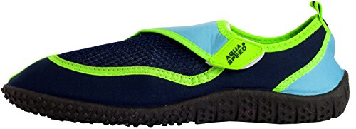 AQUA-SPEED Scarpe Di Acqua Per Spiaggia - Mare - Lago - Pantofole Ideale Come Protezione Per I Piedi - #As26 Blu navy/Blu/Verde