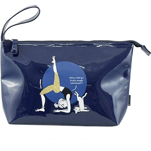 Incidence Paris 62070 Trousse de toilette Glam attitude Alors c'est qui le plus souple maintenant Bleu marine Paillettes Vinyle Fermeture zip Anse de transport Poche intérieure, 30 cm, Bleu