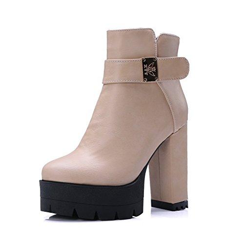 VogueZone009 Damen Niedrig-Spitze Reißverschluss Stiefel mit Metalldekoration, Cremefarben, 37