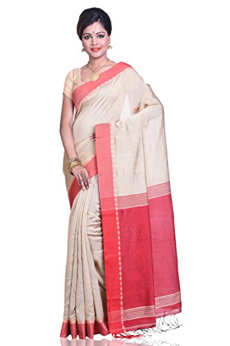Bengal Handloom Saree Women's Cotton With Blouse Piece (Ba0001_Beige)