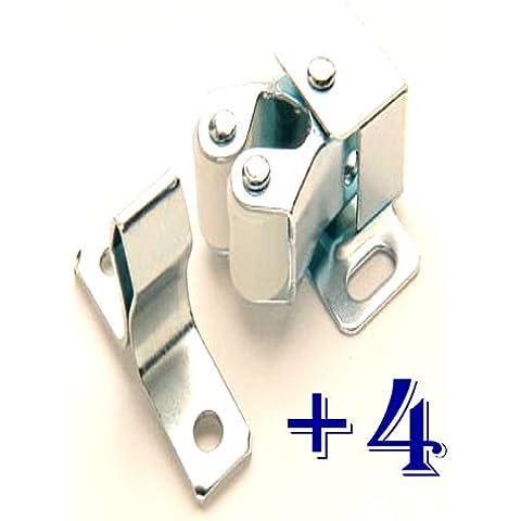 ONESTOPDIY.COM - Cierre a presión para puerta de armario (doble rodillo, 4 unidades, incluye tornillos)
