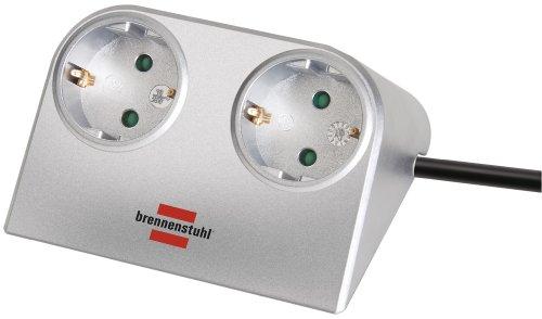 Brennenstuhl Desktop-Power, Steckdosenleiste 2-fach für den Tisch (Tischsteckdose mit 1,8m Kabel und Gummifüßen für sicheren Stand) Farbe: Silber