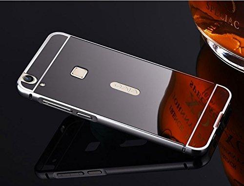 G M Brothers Luxury Mirror Aluminium Metal Bumper Back Cover Case For VIVO V3 MAX (Grayish Black)