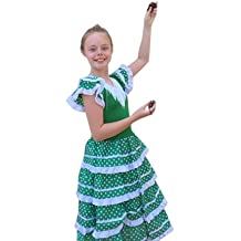 La Senorita Vestido Flamenco Español Traje de Flamenca chica/niños verde blanco (Talla 8, 116-122 - 80 cm, 6/7 años, verde)