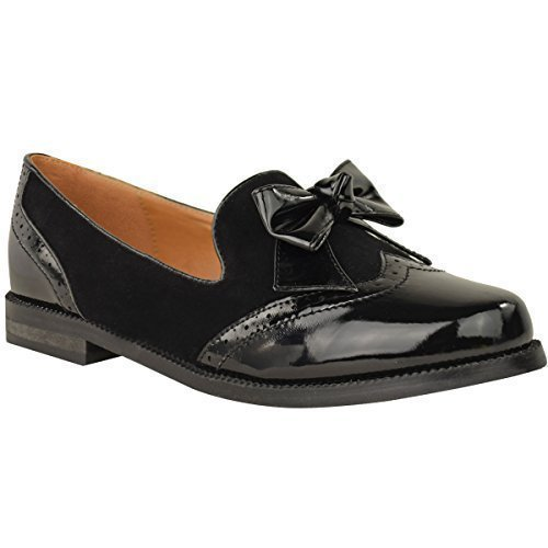 womens-ladies-loafers-shoes-flats-bow-formal-work-office-smart-school-pumps-size