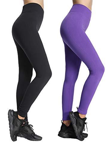 iLoveSIA 2X Fitnesshosen Leggings Damen Sport Schwarz+Violett Hosen mädchen Sportwear Workout Pants S
