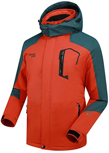 Warme Gefüttert Winterjacke Herren Softshelljacke Wasserdicht Atmungsaktiv Wanderjacke Outdoor Funktionsjacke Sport Regenjacke Orange 3XL