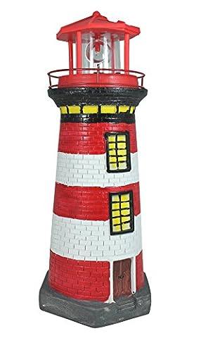 Solar Leuchtturm rot weiß rotierender LED Reflektor für den Garten am Teich 38 cm Dekofigur