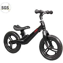 """COEWSKE 12""""Balance Bike Magnesium Alloy No Pedal Walking Balance Entrenamiento Bicicleta para niños y niños de 2 a 4 años (Negro)"""