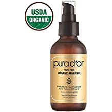 PURA DOR Moroccan Argan Oil 100% Pure & USDA Organic For Face,