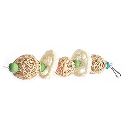 Tandou Vogelkäfig für Papageien mit Seil, zum Aufhängen, Luffa, Schaukel, Kauspielzeug