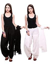 Fashion Store Women Cotton Patiala Salwar With Dupatta(Free Size, Black & Light Pink)
