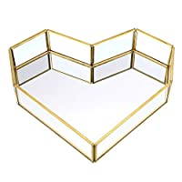 Sumnacon Vanity Mirror Tray Vintage Glass Jewelry Cosmetic Decorative Countertop Perfume Organizer Heart Shape (Golden)