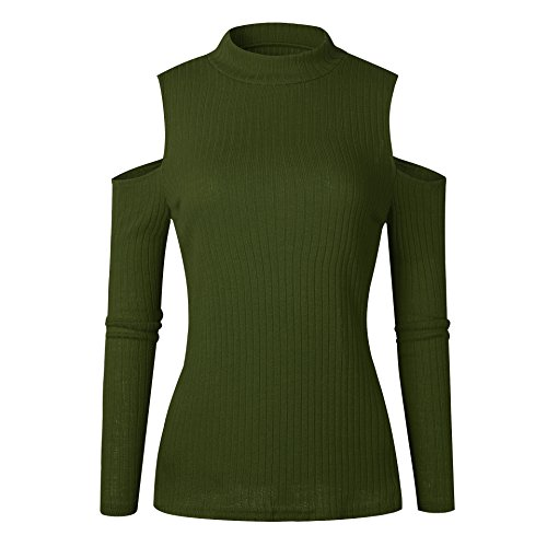 Pull Maille Femme Pull Manches Longues Chaud Epais Pull Épaules Dénudées Sweater Tricot Chandail Jumper Chandails Tops Casual Automne Hiver Vert