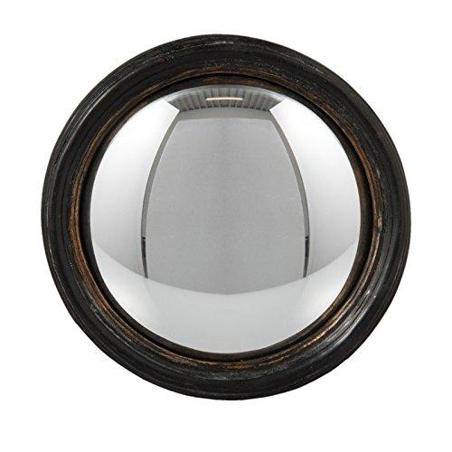 CLA Telaio in Legno Nero Marrone Stampata Convesso fisheye oblò Specchio 13cm