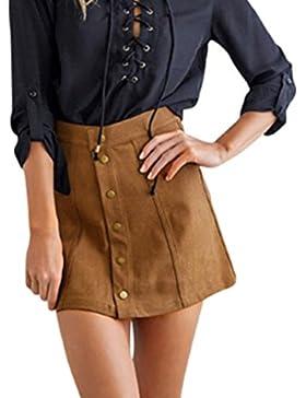 MIOIM® Moda Mujer Falda Corto De Ante Imitación Retro Vintage Midi Falda Falda A-lìnea Delgado Falda Gamuza Skirt