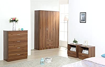 MAGNUS XL WALNUT 4 Piece Wardrobe Set - Soft Close wardrobe, Chest and 2 Bedside Drawers produced by Harmin Ltd - quick delivery from UK.