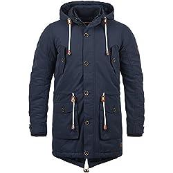 BLEND Caesar Herren Parka lange Winterjacke mit Stehkragen und Kapuze aus hochwertiger Baumwollmischung, Größe:XXL, Farbe:Navy (70230)