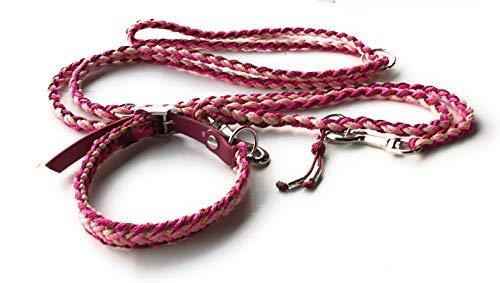 Viva Nature Handgemachtes Hunde-Halsband MIT Leine im Set/verstellbar\\ \\ Paracord-PP-Flechtleine/Geflochten/Hund (30-35cm, Bordeaux pink beige)