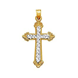 14K 2tonalità oro taglio diamante e finitura Milgrain croce ciondolo
