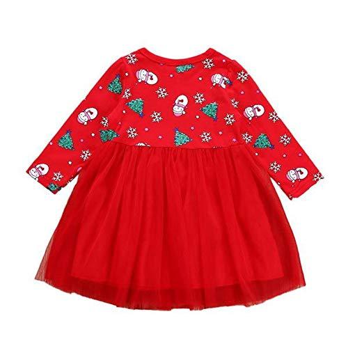 LEXUPE Baby Kleidung Set Mädchen Weihnachtsoutfit Baby Kleid Tütü Bodys Strampler Stirnband Beinwärmer Schuhe(Rot,110) -