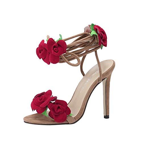 Bluestercool Donne Estate Fiore Pantofole Aperto Toe Strap Tacchi Alti Scarpe