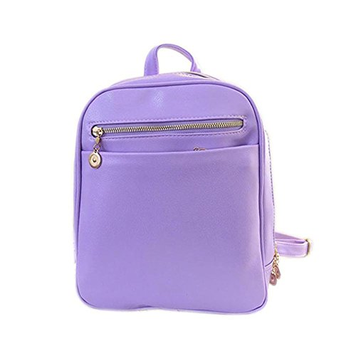 Hrph Designed Women PU Leather Backpacks Large Girls Schoolbag Travel Bag Solid Candy Color Mochila Violet