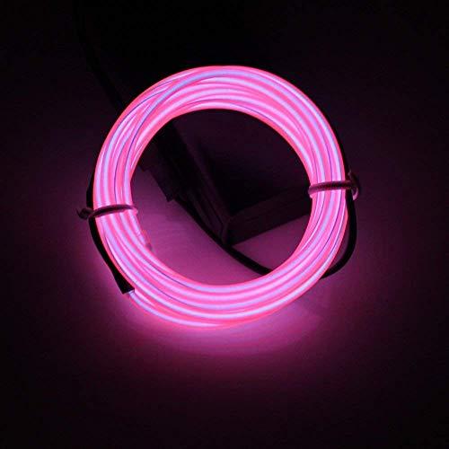 Lerway Éclairage Light Strip Rope Neon 3 mètres flexible EL fil câble bricolage cosplay Halloween Noël Nouvel An Fête de mariage Anniversaire intérieur extérieur Décoration Rubans à LED (Rose)