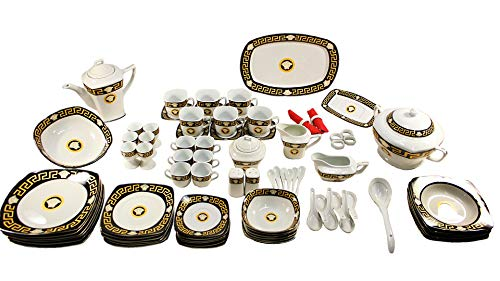 Deko-König Dinner Set Medusa aus edlem Porzellan 86-teilig für 6 Personen Mäanderband Verzierung