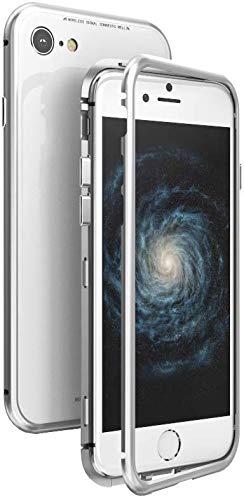 Pedea Metall Magnet Hülle mit Glasschutz für Apple iPhone X Silber