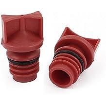 sourcingmap® Tapones de aceite del compresor de aire con carcasa de plástico rojo 2pcs de