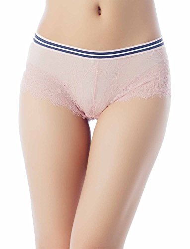 iB-iP Damen Cotton Layered Stripe Band Siehe-Th Niedrige Leibhöhe Hipster Panty, größe: L, Hellrosa (Thong Band Classic)