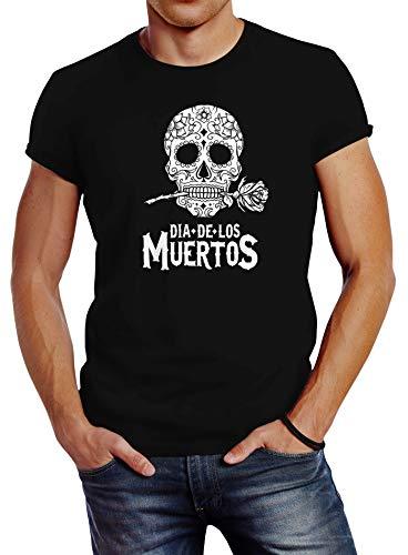 Neverless Herren T-Shirt Sugar Skull Dia De Los Muertos Totenkopf mit Blumen Slim Fit schwarz L