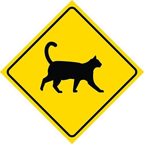 Gelb Diamant Vorsicht Katze Cat CROSSING Schilder Commercial Kunststoff 12x 12Schild (Vorsicht Katze Schild)