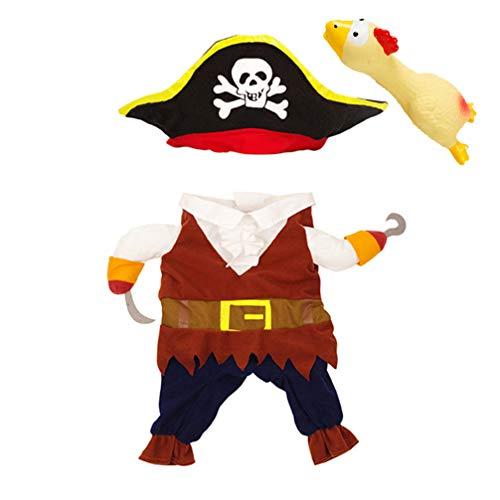 Kostüm Für Huhn Hunde Den - Balacoo Hundekleidung Haustier Piraten Kleidung Halloween Party Kostüm Zubehör Foto Requisiten mit Schreiendem Huhn für Hunde Warm Kleidung Schwarz (Größe L)