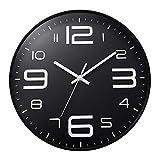 ufengke Orologio da Parete Nero Numeri 3D Grandi Orologio da Muro al Quarzo Silenzioso Industriale Moderno, Diametro 30 cm