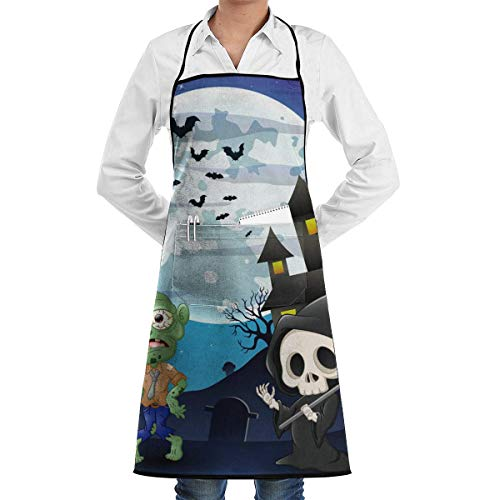 lloween Zombies and Skeletons Adjustable Cooking Kitchen Bib Apron with Pockets for Women Men Chef ()