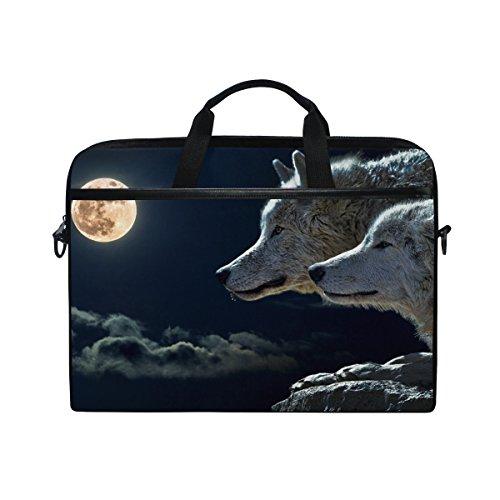 (Ahomy Wolf Moon Sky 35,6–39,1cm Multifunktional Stoff Wasserdicht Laptop Tasche Aktentasche Schultertasche Messenger Bag)