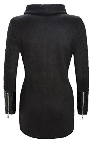 Damen Jacke Mantel lang gesteppte Ärmel elegant Damenjacke Strehkragen D-125 S-XL Schwarz