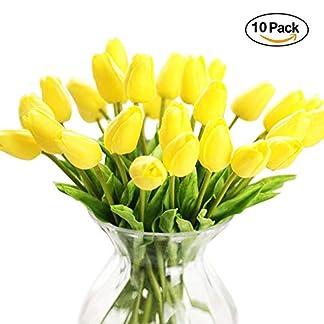 Ramo de 10 flores artificiales de tulipán artificiales, de látex, de poliuretano, para decoración de bodas, hogar, jardín
