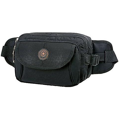 wewod impermeabile tempo libero cintura borsa in nylon, nero, 34*10*22 cm