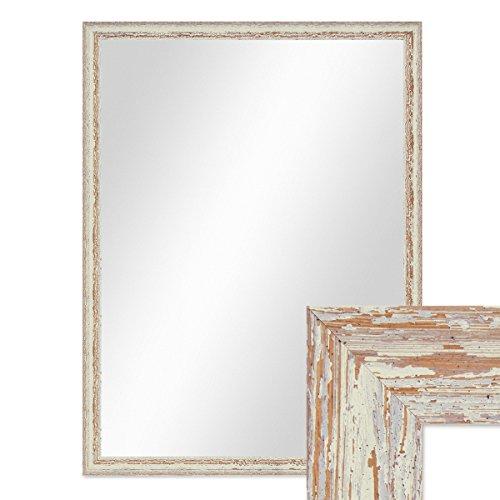 PHOTOLINI Wand-Spiegel 66x86 cm im Holzrahmen Weiss Shabby-Chic Vintage/Spiegelfläche 60x80 cm